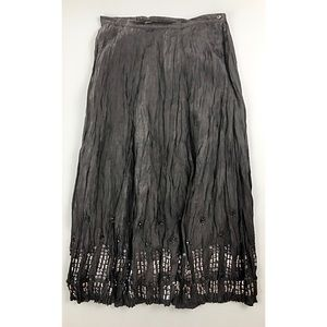 CHICOS 100% Silk Crinkled Embellished Maxi Skirt